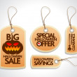 Sale Halloween Tags Set orange — Stock Vector