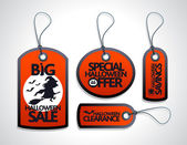 Red Sale Halloween Tags Set — Stock Vector