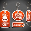 Sale Halloween Tags Set red — Stock Vector
