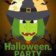 Halloween Party banner with Witch — Stock Vector #33341753