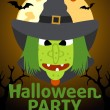 Stock Vector: Halloween Party banner with Witch