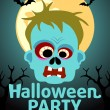 Halloween Party banner with Zombie — Stock Vector