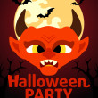 Halloween Party banner with Devil — Stock Vector