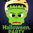 Stock Vector: Halloween Party banner with Frankenstein