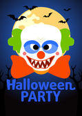 Halloween Party banner with Clown — Stockvektor