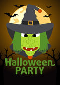 Halloween party banner mit hexe — Stockvektor