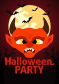 Bannière fête halloween diable — Vecteur