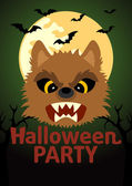 Halloween Party banner with Werewolf — Stock Vector