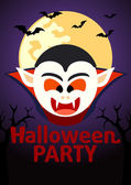 Halloween party banner mit dracula — Stockvektor