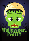 Halloween party transparent z frankenstein — Wektor stockowy