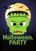 Banner de fiesta de halloween con frankenstein — Vector de stock