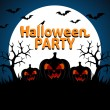 Stock Vector: Halloween Party background blue