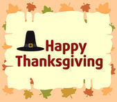 Happy thanksgiving background with Pilgrim hat — Vettoriale Stock