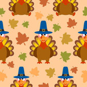 Thanksgiving seamless background with turkey — Stock Vector