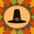 Autumn Thanksgiving  Day background with Pilgrim hat — Stock Vector