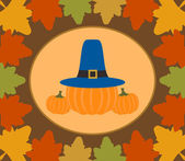 Autumn Thanksgiving Day background with pumpkin — Stock Vector