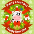 Christmas and New Year background with cow — Stock Vector