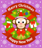 Christmas and New Year background with monkey — Stock Vector
