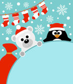 New Year background with penguin and polar bear — Stock Vector