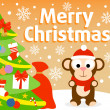 Christmas background with monkey — Imagen vectorial