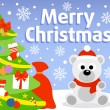 Christmas background with polar bear — Stock Vector