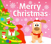 Christmas background with dog — Stock Vector