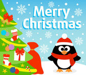 Christmas background with penguin — Stock Vector