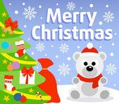Christmas background with polar bear — Stock Vector