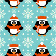 New Year seamless background with penguin — Stock Vector #36044691