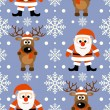 New Year seamless background with deer and Santa Claus — Stock Vector