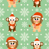 New Year seamless background with monkey and lion — Stock Vector