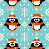 New Year seamless background with penguin — Stock Vector