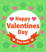 Green Valentines day background — Stock Vector