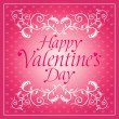 Pink Happy Valentines day background with flowers — Stock Vector