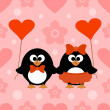Stock Vector: Valentines day seamless background with penguin