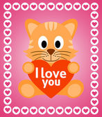 Valentines day background with cat — Stock Vector