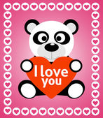 Valentines day background with panda — Stock Vector