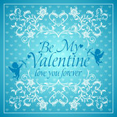 Blue Valentines day background with Cupid — 图库矢量图片