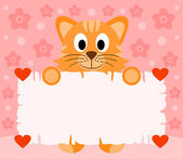 Pink Valentines day background with cat — Vettoriale Stock