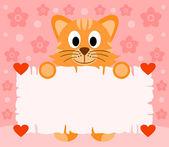 San valentín rosadas fondo del día con el gato — Vector de stock