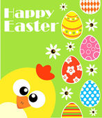 Happy Easter background with funny chicken ,green — Stock Vector