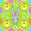 Seamless Easter background with rabbit and chickens — Stock Vector #42879773