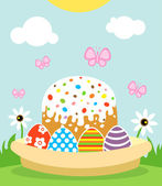 Happy Easter background with cake and eggs — Stock Vector