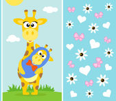 Mother's day background with giraffe — Stock Vector
