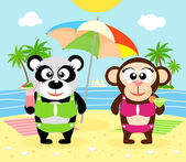 Summer  background with monkey and panda — Stock Vector