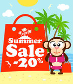 Summer sale poster with monkey — Stock Vector