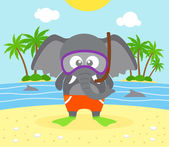 Summer  background with elephant — Stockvektor