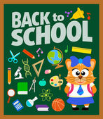 Back to school background with cat — Stock Vector