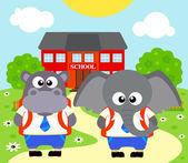 Back to school background with elephant ,hippopotamus — Stock Vector