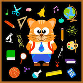 Back to school seamless background with cat — Stock Vector
